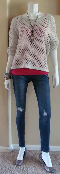 Daily Look:  CAbi Spring '14 Seaside Pullover & Simple Cami, Strawberry, with destructed skinny jeans and matte silver flats.  Spring has sprung!