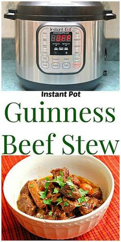 Instant Pot Guinness Beef Stew will be your comfort meal for St. Patrick's Day. Serve over mashed potatoes or noodles for an amazing meal! | What's Cookin, Chicago?