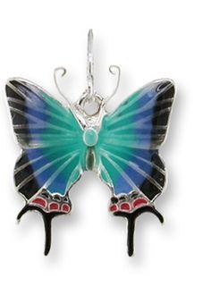Zarah Zarlite Hewitsons Blue Hairstreak Butterfly CHARM Silver Plated & Enamel #Zarah #Traditional