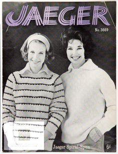 "Striped or Plain Sweater in Jaeger ""Spiral-Spun"" Publication  Jaeger Co. Ltd., publisher, about 1965"