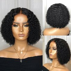 Short Wigs For Black Women african american human hair bob wigs with b – iloverbeauty Check out our african american human hair bob wigs with bangs We offer the best online prices.These real human hair wigs fit average, large and petite head sizes. Short Human Hair Wigs, Human Wigs, Lace Frontal 360, Curly Girls, Curly Hair Styles, Natural Hair Styles, Celebrity Wigs, Celebrity Style, Wigs With Bangs