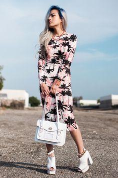 Eugénie Grey - Missguided Arjana Palm Print Midi Dress, Missguided Xamisa Faux Leather Satchel - Desert Rose