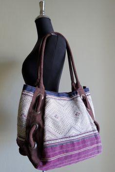 Ethnic Vintage Handmade bags  bohemian  beautiful silk stitching handbags and purses,. $59.99, via Etsy.