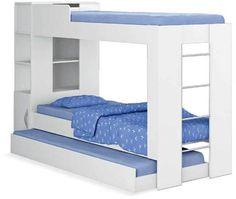 Linhas retas e design contemporâneo marcam o CM15 (Ditália). A estrutura de MDP pintado combina três camas, um módulo com nichos e armário inferior na cabeceira. Leva, ainda, uma escada embutida na lateral. O conjunto mede 2,25 x 0,87 x 1,55 m. Lojas Colombo , R$ 539