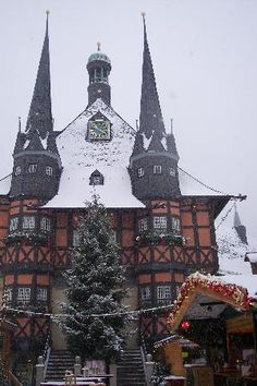 Wernigerode town-hall.Germany Christmas time