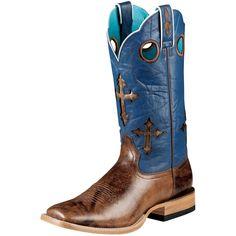 "CROSS BOOTS | ... Buckskin-13"" Glacier Blue Cross Top Cowboy Boots (Item #10007679"