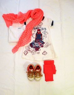 outfit for kids OKAIDI FLUO and A SARABANDA DRESS on www.fiammisday.com