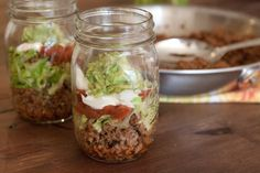 Tacos in a Jar - just mix up with your fork and dig in! This looks pretty healthy, actually