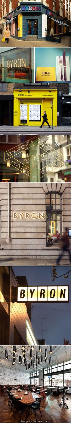 Byron Burgers takes a bold and imaginative approach to their brand by using it different for each location. Design work is done internally. | Via: A Charming Hello