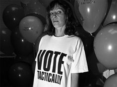 """Katharine E. Hamnett CBE (1947) is an English fashion designer best known for her political t-shirts and her ethical business.Her slogan t-shirts may seem run-of-the-mill now, but at the time they were revolutionary--and, as Minniti points out, their design """"continues to be copied [by countless companies and designers today."""""""