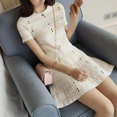 New Fashion Women s Spring Thin Knitted Striped Crop Top and Mini Skirt  Suit Set Two- 611ce3180247