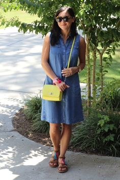 @stilettodiapers describes her J.Jill tencel-soft indigo a-line dress as a summer staple.