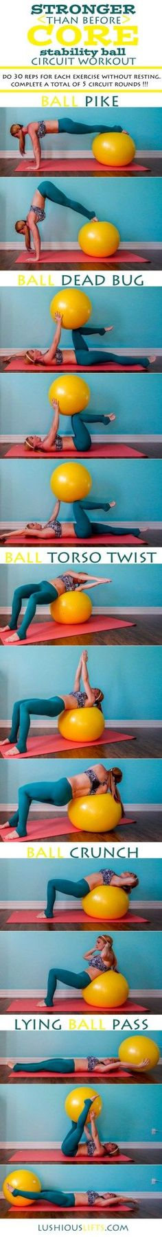 Stronger {than before} Core Stability Ball Circuit Workout || lushiousLIFTS.com
