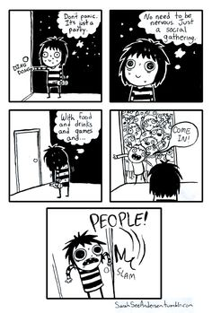 My typical experience with parties where I don't know people. - Sarah's Scribbles.