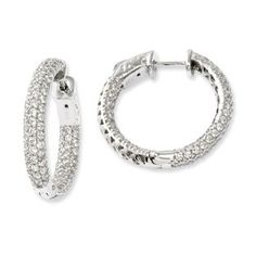.925 Sterling Silver Pave CZ 25MM Hoop Earrings Jewelry Available Exclusively at Gemologica.com