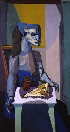 Robert Colquhoun (Scottish, 1914-1962): Woman with Still Life (1958), oil on canvas, 1422 x 762 mm.