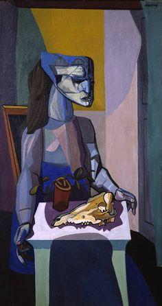 Robert Colquhoun(Scottish, 1914-1962): Woman with Still Life (1958), oil on canvas,1422 x 762mm.