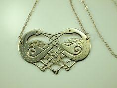 Silver Herons Necklace Vintage Celtic by BelmontandBellamy