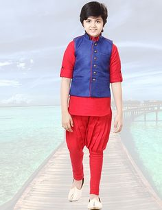 jute line red and blue party wear boy waistcoat set Product Code: G3-BWCS0100 Price: ₹ 3,236.00