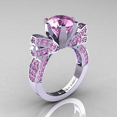 14K oro blanco CT 30 luz rosa zafiro anillo de compromiso