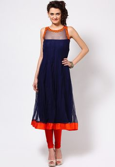 Sleeve Less Solid Navy Blue Kurti-navy Blue and Orange and corset neck Indian Attire, Indian Wear, Indian Dresses, Indian Outfits, Indian Tunic Tops, Desi Wear, Kurta Designs, Blouse Designs, Indian Fashion