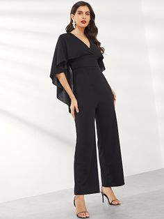 To find out about the Cape Sleeve Solid Jumpsuit at SHEIN, part of our latest Jumpsuits ready to shop online today! Jumpsuit Elegante, Black Jumpsuit, Jumpsuit Style, Black Pattern, Jumpsuits For Women, Fashion News, Girl Fashion, Types Of Sleeves, Casual Outfits