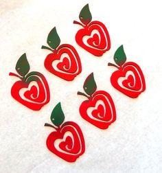 apple teachers gift,metal apple, set of 6 metal apple,mason jar decor,gift tag,apple Christmas ornament,jam jar gift tag,red apple gift by IRONHORSEAZ on Etsy