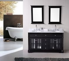 2 sink bathroom vanity ideas small bathroom vanity dimensions from 2 Sink Bathroom Cheap Bathroom Vanities, Bathroom Sink Vanity, Luminaire Led, Luminaire Design, Gray Vanity, Tile Countertops, Grey Bathrooms, Home Remodeling, Freestanding Tub