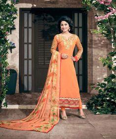 Orange Semi Stitched Party Wear Straight Cut Salwar Suit @ 29% OFF Rs 1270.00  Stitch Type: Semi-stitched  Top Colour: Orange  Bottom Colour: Orange  Dupatta Colour: Orange  Kameez Fabric: Georgette  Bottom Fabric: Santoon  Dupatta Fabric: Chiffon