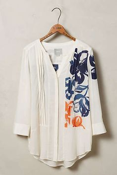 Anthropologie - Patterned Pintuck Tunic