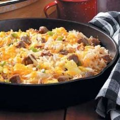 This makes a hearty #camping breakfast...If you don't want to worry about eggs breaking in your cooler, just bring a carton of egg beaters. Shred up sweet potatoes instead of frozen hash browns. Make it #paleo by omitting the cheese.