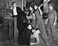 """""""Spooks Run Wild"""" (1941) - Starring: Bela Lugosi & The East Side Kids - Leo Gorcey is third from the left, standing - Huntz Hall, is on the ground, with hat flipped up. - The East Side Kids would later become The Bowery Boys."""
