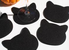 Black Cat Coasters Halloween Decorations Tabletop  Party Cat Head Coaster Set, Felt Coasters, Drink Coasters, Fabric Coasters by feltplanet on Etsy https://www.etsy.com/ca/listing/183560864/black-cat-coasters-halloween-decorations