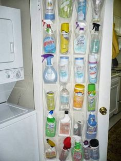 keep all of your cleaning supplies in a shoe organizer