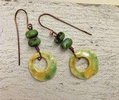 Bohemian handmade artisan ceramic earrings by SheriMalleryHandwork