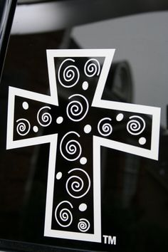 Items similar to Whimsical Cross Car Decal on Etsy Vinyl Crafts, Vinyl Projects, Vinyl Art, Silhouette Machine, Silhouette Cameo, Cute Car Decals, Vinyl Sayings, Circuit Crafts, Ipad