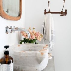 Sometimes you buy an antique marble basin and hold on to it for 5 or 6 years until you find a place for it to shine. The moral; always buy what you love.