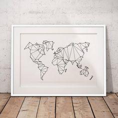Large Geometric World Map Art Print - 60cm x 80cm