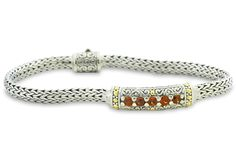 Garnet Sterling Silver Woven Bracelet with 18K Gold Accents | Cirque Jewels