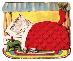 Sweet Kitten Waiting for Santa