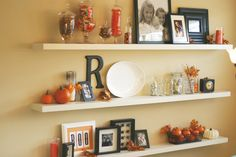 I love the idea of having a couple if shelves together to decorate for holidays.