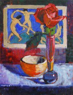 "Daily Paintworks - ""Matisse Dancers & Rose, figurative oil painting, still life flower, figuration, dancing women"" - Original Fine Art for Sale - © Marie Fox"