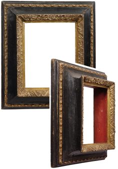 An 18th century Tuscan bolection frame with exaggeratedly projecting profile and deep scotia; enriched chain moulding on the back edge; undulating S-scrolls & palmettes at the sight edge; parcel-gilt & ebonized