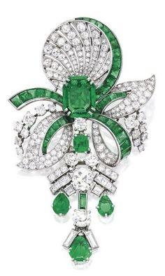 Platinum, Emerald and Diamond Pendant-Brooch, by Mauboussin, circa 1935.