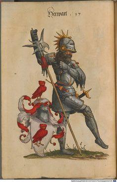 Wappen - Ritter mit Familienwappen der Herwart von Bittenfeld / Knight with Coat of Arms of The Family Herwart von Bittenfeld / Armas del Caballero de la Familia de Herwart von Bittenfeld