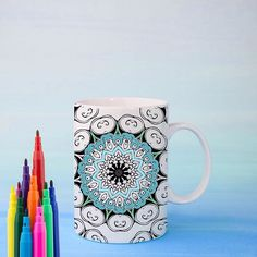 Enjoy the relaxation and fun of coloring in your own mandala mug! Studies have shown that coloring mandalas can reduce anxiety and promote healing. Choose a mandala based on it's corresponding personal affirmation, and meditate on that quality as you colo