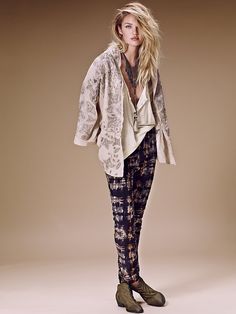 Free People Printed High Rise Skinny Cord at Free People Clothing Boutique
