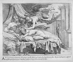 Athene reassures Penelope  17th century etching  Theodor van Thulden (1606 - 1669)  Fine Arts Museums of San Francisco Homer Odyssey, Trojan War, Greek And Roman Mythology, Renaissance Art, Museum Of Fine Arts, Beautiful Artwork, Pretty Pictures, Great Artists, Art Reference