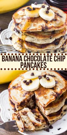 These banana chocolate chip pancakes are the perfect start to your day. They're extra fluffy super thick filled with chocolate chips and taste like banana bread in pancake form. Banana Chocolate Chip Pancakes, Banana Bread, Healthy Banana Pancakes, Easy Brunch Recipes, Banana Chips, Banana Recipes, Banana Breakfast Recipes, Breakfast Pancakes, Kitchen