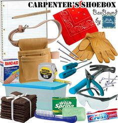 Joseph was a carpenter and if he could make an Operation Christmas Child shoebox, it might look like this! The tools and safety glasses items for boys of all ages. Soap, washcloths and bandages will keep those woodworking cuts and scrapes nice and clean. Don't forget a tool belt to hold all of their new tools. Encourage them to learn life-long skills with this practical shoebox! #OCC #MadeCreatively www.pinterest.com/madecreatively